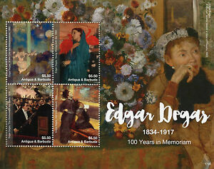 Antigua & Barbuda 2017 MNH Edgar Degas 100th Memorial 4v M/S I Art Stamps