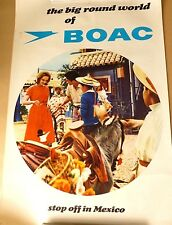 BOAC Airlines - Stop off in Mexico  VINTAGE 1960's TOURIST ART POSTER