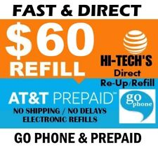 $60 AT&T PREPAID & GO PHONE FASTEST >TODAY< ONLINE REFILL > 25yr TRUSTED DEALER