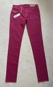 Ladies Womens Diesel Grupee Pink Super Slim Skinny Low Jeans W27 L34 NEW (D10)