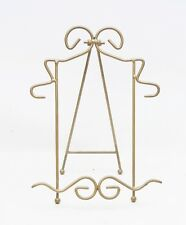 Vintage Decorative Metal Display Plate, Art , Book Stand Holder Brass Plated