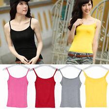 Women Casual Spaghetti Strap Tank Tops Vest Sleeveless Solid Tee Shirts Hot