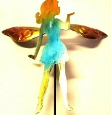 """Garden Stake Fairy Teal Spring on Wings Decor True Living Outdoors Metal 21"""" New"""