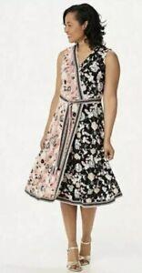 Isaac Mizrahi Live! Regular Color-Block Floral Printed Faux Wrap Dress A352278 L