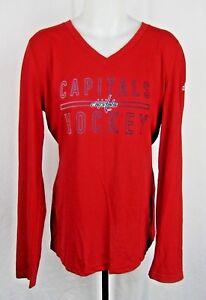 Washington Capitals NHL Adidas Women's Red Long Sleeve Shirt