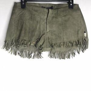 One Teaspoon Demplition Fringe Shorts Olive Green Sheep Leather NWT Boho READ