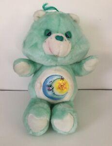 "Vintage 1983 Kenner Care Bear Bedtime Bear 13"" Green Sun Moon Star Stuffed Plush"
