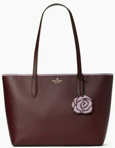Kate Spade Patti Burgundy Smooth Leather Tote Flower Dangle NWT WKR00191 $329 FS