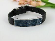 New Qvc Stainless Steel Adjustable Pave Crystal Station Leather Bracelet
