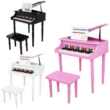 More details for kids child 30 keys wooden grand piano keyboard with chair stand phonetic card