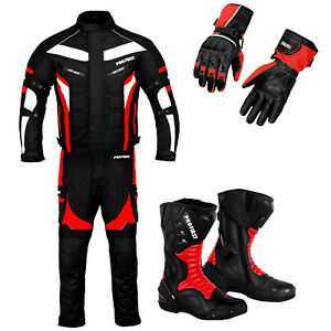Motorcycle Racing Riding Suit Motorbike Waterproof Leather Boots Gloves Armoured