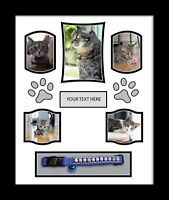 Large PERSONALISED PHOTO frame, PET,CAT,DOG, BEREAVEMENT REMEMBRANCE White Mount