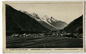 CPA 74 Haute-Savoie Argentières Vue générale et Mont-Blanc