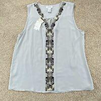 NWT Carmen Marc Valvo Sleeveless Embellished Beaded Blouse Top Tunic Size L $58