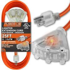 25 Feet 3 Outlet 12/3 SJTW Outdoor Extension Cord - UL Listed; 15Amp 125V 1875 W