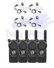 4 Motorola CLS1410 Two Way Radio UHF Walkie Talkies + 4 PTT Earpieces NEW 4-PACK