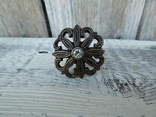 Antique Bronze Flower w/ Rhinestone Metal Drawer Pulls Knobs Home Decor  NEW