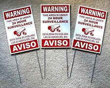 3 Security Video Surveillance Warning 24 Hr Signs 8x12 Spanish English wStakes r