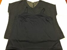 ROGERS + ROGERS SIZE 26 NAVY LADIES SHEER SHORT SLEEVE PATTERNED TOP + CAMI 3G