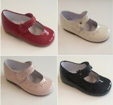 Girls Spanish Patent Leather Shoes Cream Pink Red Black Romany