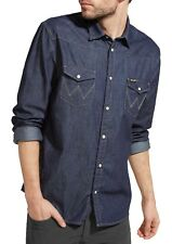 Blu Small Wrangler Western Denim Shirt Camicia di Jeans Uomo (rinse (xkt)