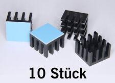 10 St. Mini Alu Kühlkörper mit Wärmeleitfolie schwarz eloxiert 14x14x10 mm