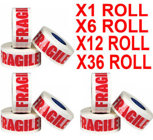 1,6,12,18,36,72 ROLLS OF FRAGILE PRINTED PACKING PARCEL TAPE 48mm x 66m