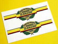 "Raleigh Stile Vintage ""Tour 1980' vincitori DE FRANCE CICLO BICICLETTA Adesivi Decalcomanie"