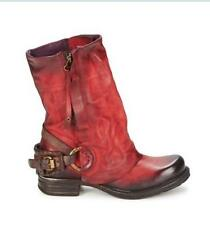 Hot Fashion Women Retro Motorcycle Ankle Cowboy Boot Leather Oxford Buckle Shoes