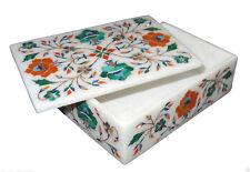 "6""x4""x2"" Marble Jewelry Box Handmade Malachite Hakik Pietra Dura Home Decor Art"