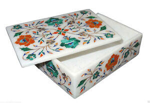 "6""x4""x2"" Marble Jewelry Box Handmade Malachite Hakik Pietra Dura Home Decor Art"