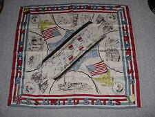 "SS UNITED STATES LINES  New/Old Stock Scarf  /  32"" x 36""  /  Reversible"