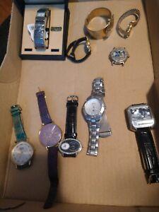 Lot 10 Watches for Parts/Repair Fossil Pulsar Sharp Rhapsody Gruen Batman & More