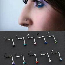 10x Rhinestone Stainless Steel Nose Ring Studs Screw Hoop Body Piercing Jewelry