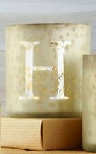 """NEW MUD PIE VOTIVE """" H """" INITIAL FROSTED GOLD MERCURY GLASS Personalized In Box"""