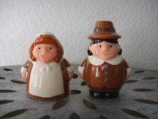 Ceramic Amish Farmers Wife Couple Salt and Pepper Shakers Set Autumn Fall