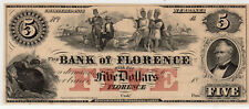 1856 US Obsolete Currency, Bank of Florence $5 Dollars - Uncirculated Remainder