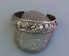 Vintage Native American Sterling Highly Detailed Flowers Swirls Foliate Cuff