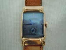 Vintage Bulova 8AH/BXM MVMT 17j Jewel Blue Crystal 14k Rose Gold Filled Watch