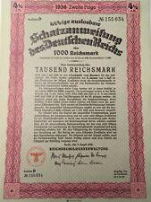 Nazi Bond 1936 German Swastika  1000 Reichsmark UNC  Loan Share Stock EFC