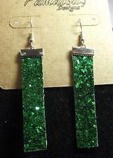 "Handcrafted Earrings 2.25"" Green Glitter Rectangles"