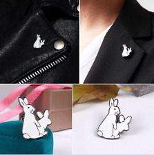 1Pc Cute CartoonTwo White Rabbits Evil Badge Corsage Collar Brooch Pins Jewelry