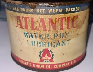 Very old Atlantic Union Oil company one pound net Water pump lubricant tin. RARE