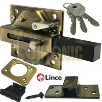 Lince Antique Brass Lock High Security Heavy Duty Rim Gate Shed Sliding Bolt
