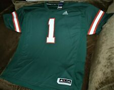 Miami Hurricanes football jersey MEN'S 2XL NEW with tags Adidas Premier green