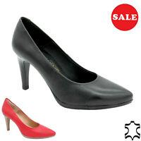Cuero Mujer Zapatos de Tacón Auténtico Novia Estilete 9-cm Alto, Negro Rojo