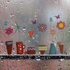 Fensterscheibe Folie Sticker Fensterbild Wandbild Blumen Schmetterling Deko Bild