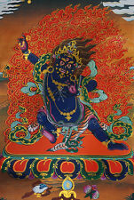 "* VAJRAPANI, POWER OF BUDDHA! 24"" BROCADE GOLDEN WOOD SCROLL TIBETAN THANGKA ="