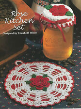 Crochet Pattern ~ ROSE POTHOLDER & JAR LID COVER Kitchen Set ~ Instructions