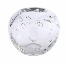 "New 6"" Hand Blown Art Glass Vase Bowl Clear Bubble Design Decorative"
